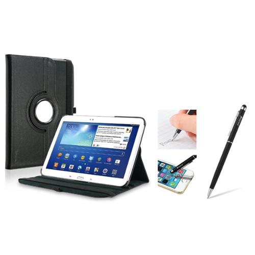 Insten Black 360 Leather Case + 2in1 Stylus with Ballpoint Pen For Samsung Galaxy Tab 3 10.1 (Auto Sleep/Wake)