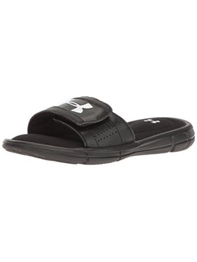 Under Armour Boys' Ignite V Slide, Black/White, 2 M US Little Kid