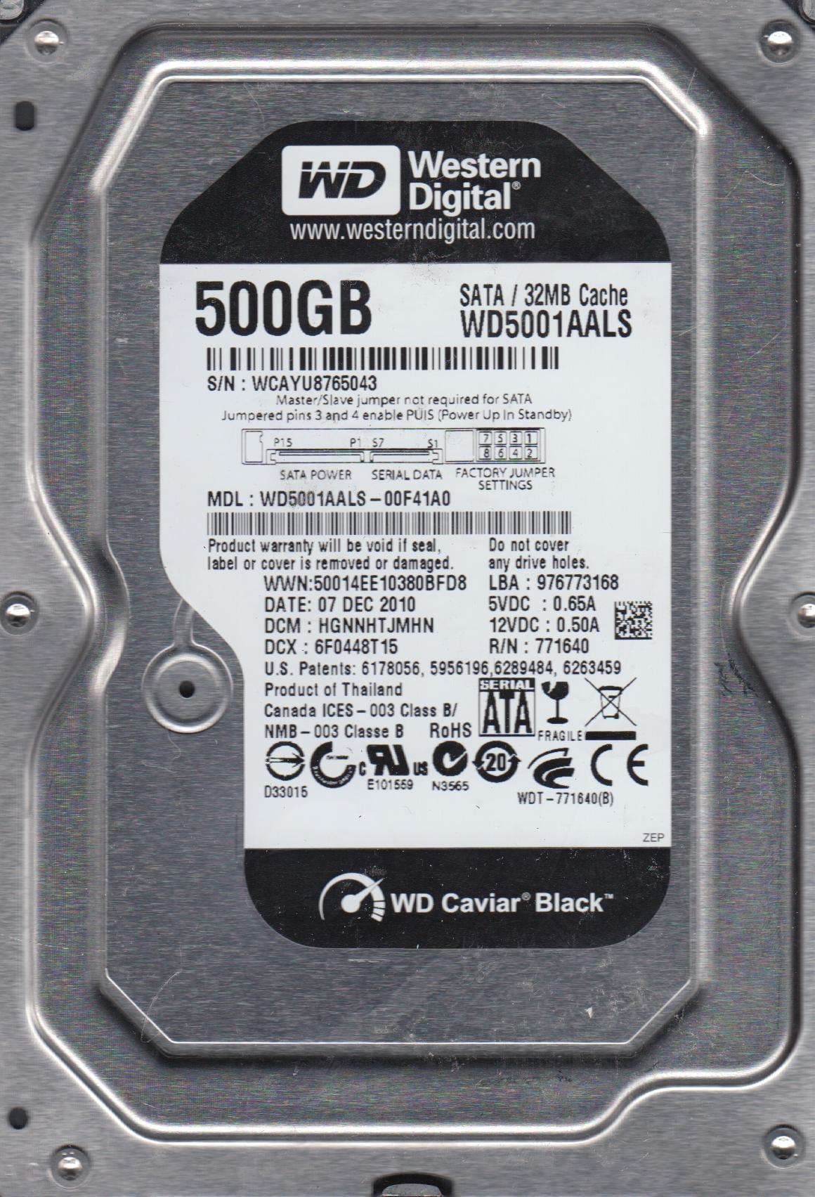 WD5001AALS-00F41A0, DCM HGNNHTJMHN, Western Digital 500GB SATA 3.5 Hard Drive by WD