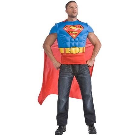Superman Costume Mens (DC Comics Superman Muscle Chest Adult Costume Kit -)