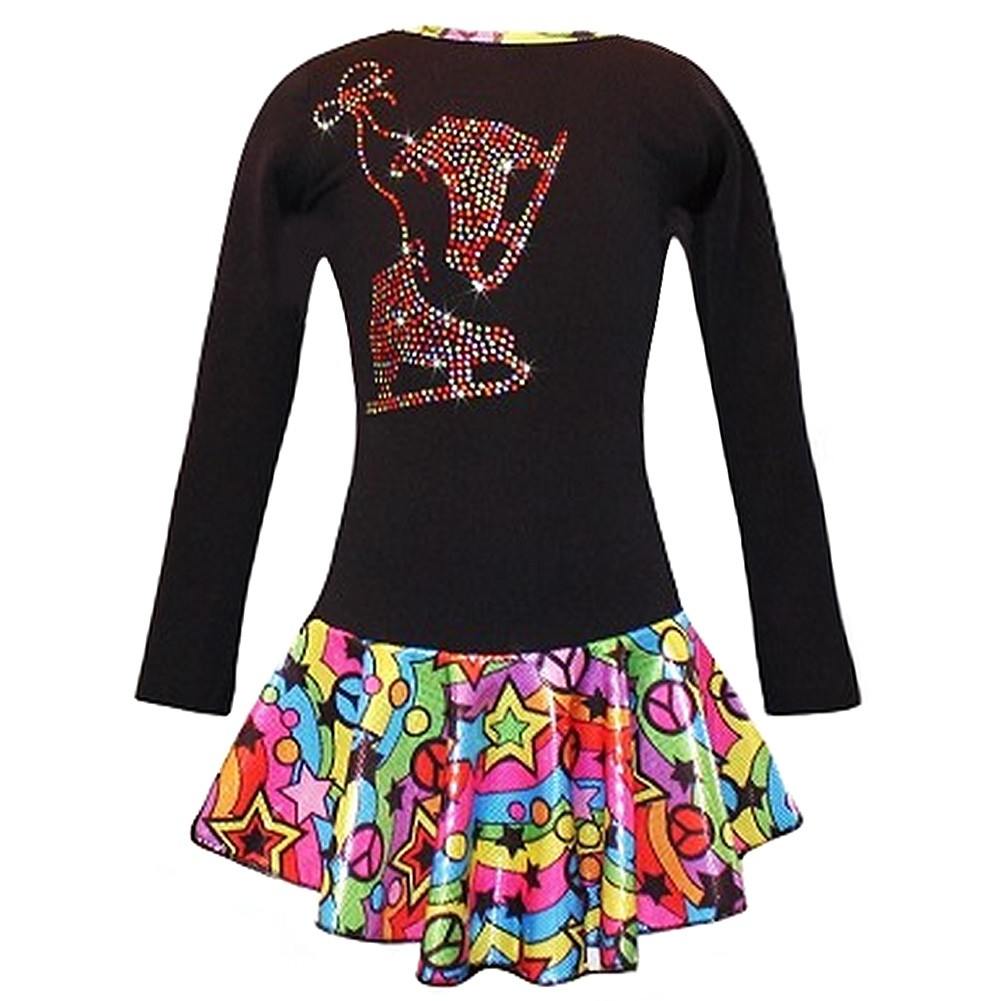 Ice Fire Skate Wear Black Peace Stars Rainbow Skates Dres...