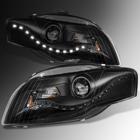 2006-2008 Audi A4 DRL LED Projector Halogen Type Black Both Headlights