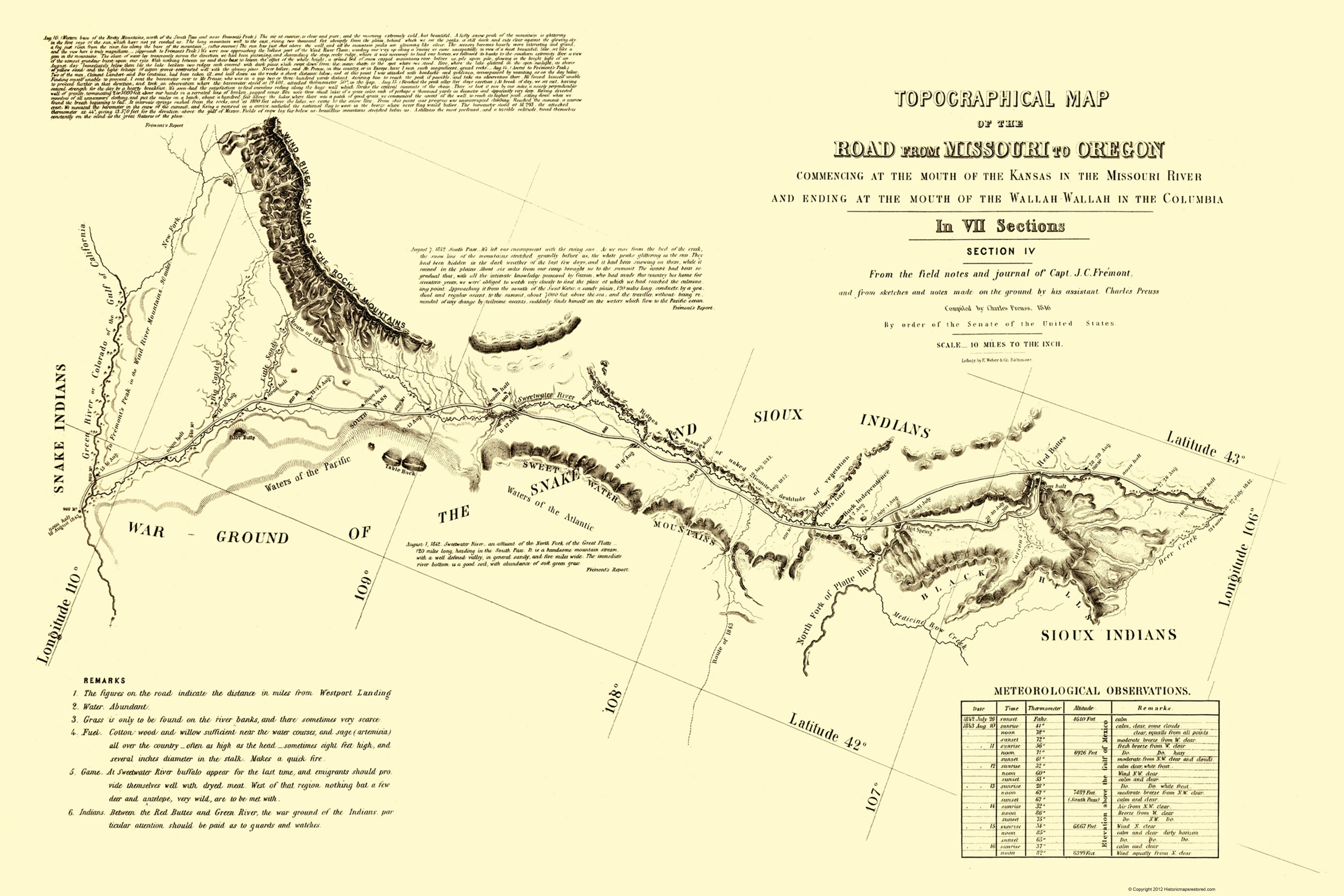 Old Topographical Map Print Oregon Trail Wyoming 4 of 7 Fremont