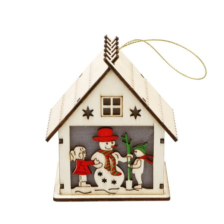 TSV LED Light Wood HOUSE Cute Christmas Tree Hanging Ornaments Holiday Decoration (Horse Tree Ornaments)