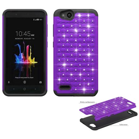 Zte Avid-4 Verizon Vantage For X Phone Boost Case Metropcs Blade crystal Rugged Purple-black Cover Mobile Tempo Crystal-dual-layered