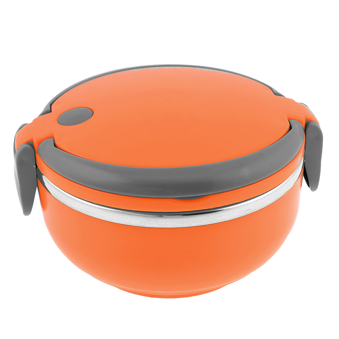0.8L Orange Round Shape Plastic Gray Handle Food Lunch Box Container
