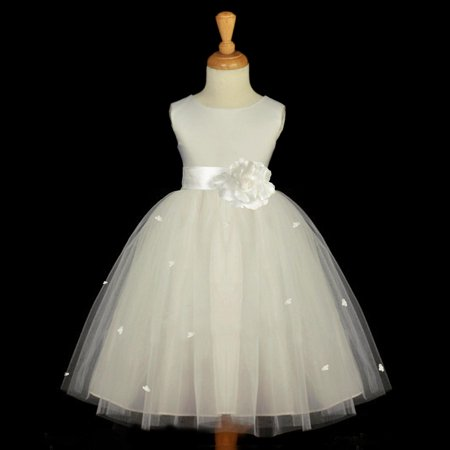 Ekidsbridal Ivory Flower Girl Dress Tulle Rosebud Rose flower Weddings Summer Easter Special Occasions Pageant Toddler Bridesmaid Recital Communion Holiday Bridal Baptism 815S size 4 for $<!---->