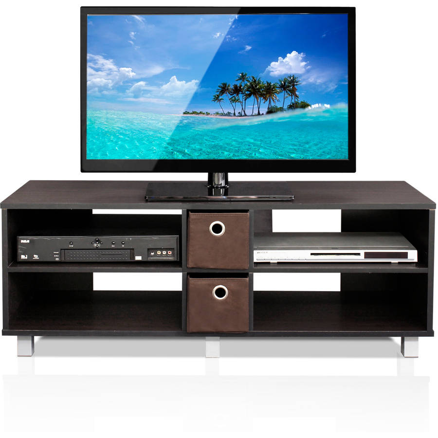 Furinno 10001 TV Entertainment Center with 2 Bin Drawers, Espresso