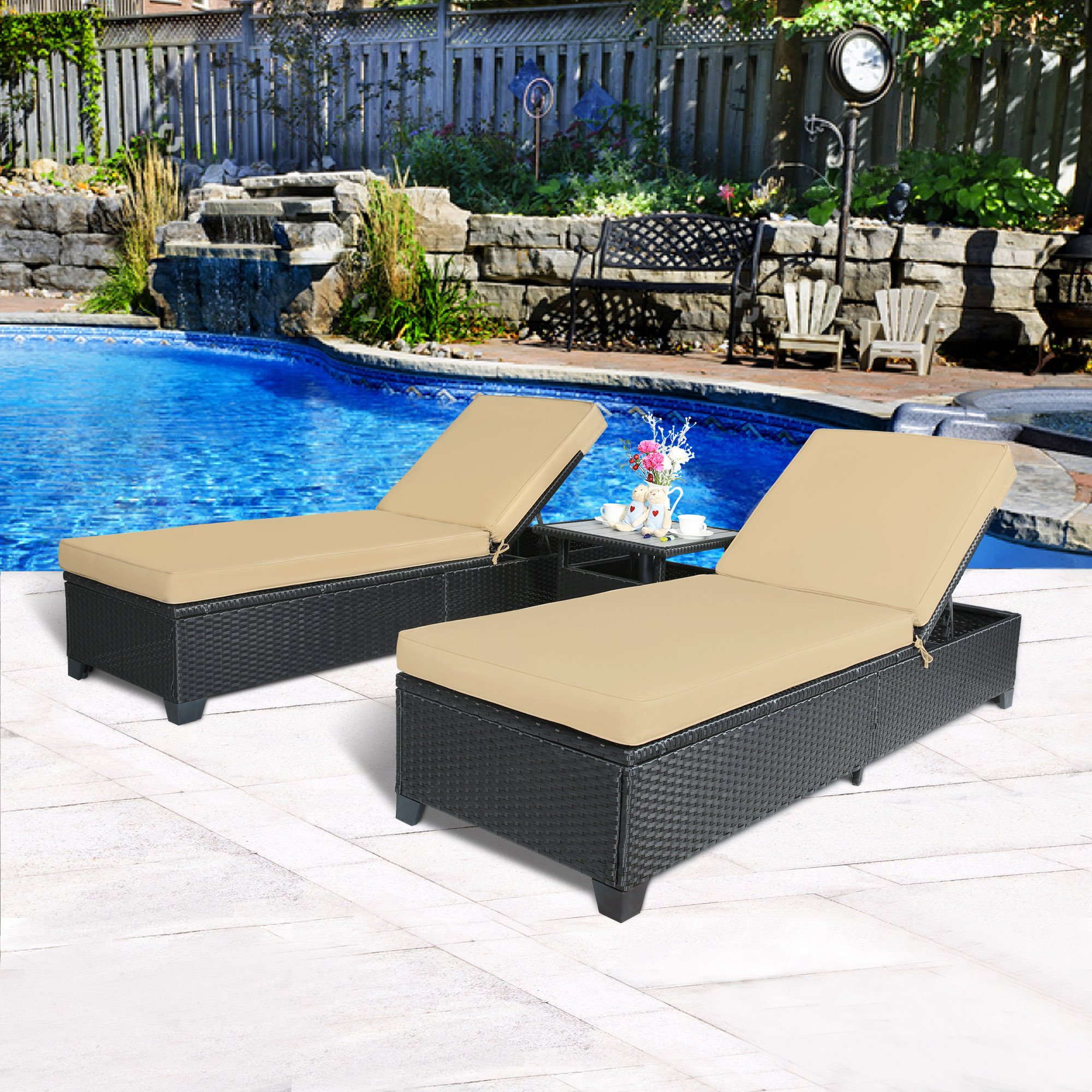 Cloud Mountain Rattan 3 Piece Outdoor Chaise Lounge Set by Cloud Mountain
