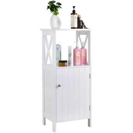 Costway Floor Cabinet Bathroom Organizer Floor Towels Storage Cabinet Single Door ()