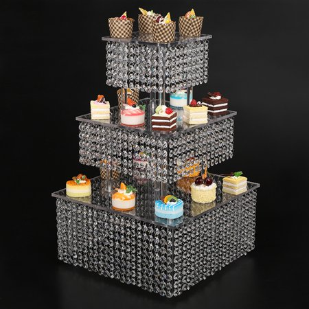 Square Cupcake Stand Dessert Or Pie Display--3 Tier Square Cake Stand For Birthday Wedding Party
