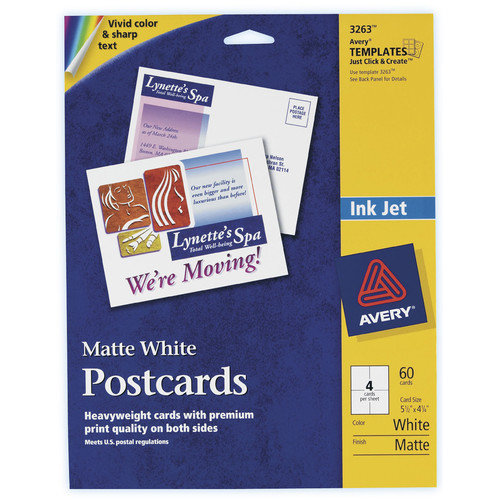 Avery 60 Count 5-1/2'' x 4-1/4'' Matte PC60 Postcard in White
