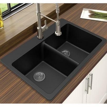 Winpro Granite Quartz 33'' L x 22'' W Double Bowl Dual Mount Kitchen Sink Bronze Square Kitchen Sink