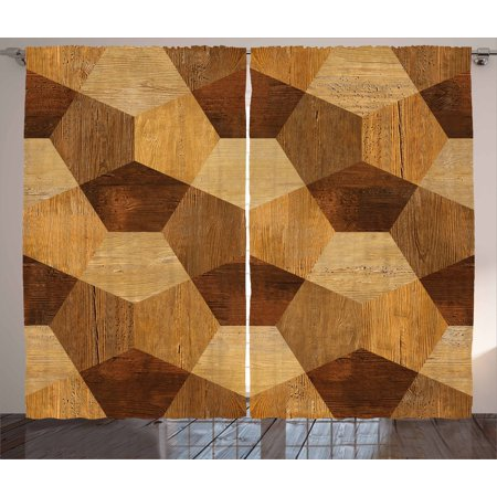 Retro Curtains 2 Panels Set, Abstract Parquet Flooring Wooden Rustic with Geometric Monochrome Pattern, Window Drapes for Living Room Bedroom, 108W X 96L Inches, Brown Pale Brown, by Ambesonne