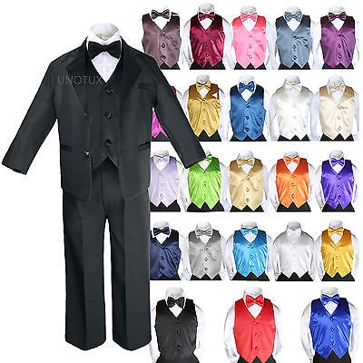 Baby Kid Teen Boys Formal Party 7pc Black Suits Tuxedo Color Satin Vest Tie S-20 - Pink Tuxedo