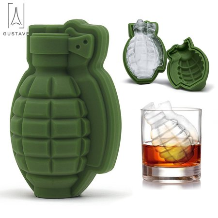 GustaveDesign 3D Grenade Silicone Ice Cube Mold Tray, Life Size Hand Grenade Mold, Ice Ball Tray Maker For Cocktails & Whiskey (1 PACK) - Green Ice Cubes