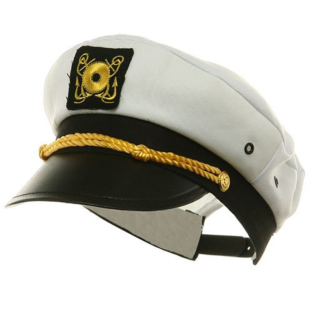 Yacht Captain Child Hat Costume Adjustable White Cap Sailor Boys ... c7fea0855f8