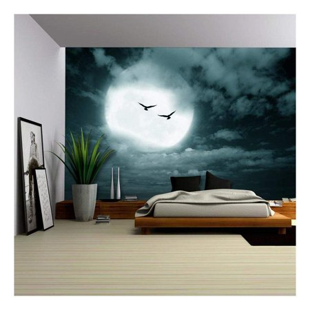 wall26 - Halloween Background, Full Moon and Sky, Dark Style. - Removable Wall Mural | Self-Adhesive Large Wallpaper - 100x144 inches - Halloween Live Wallpaper Android Market