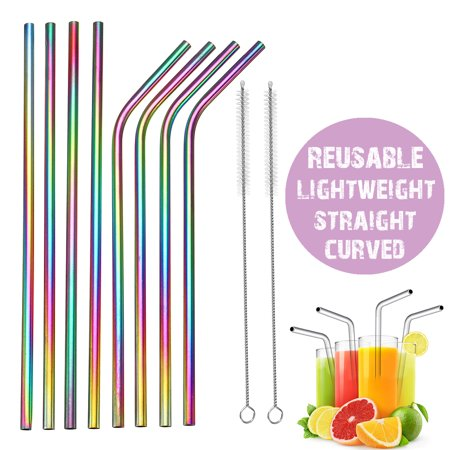 4 Straight Straws/4 Curved Straws Reusable Rainbow Stainless Steel Metal Drinking Straw w/Cleaning Brush - Eco Friendly, SAFE, NON-TOXIC Non-plastic For Smoothie Drink Shake](Straw Mats For Sale)