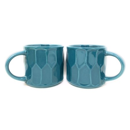 Starbucks Stacking Faceted Peacock Ceramic Mugs -14 oz. Each Set of 2