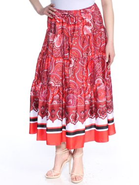 5f417e054 Product Image RALPH LAUREN Womens Red Paisley Maxi Paneled Skirt Size: XL