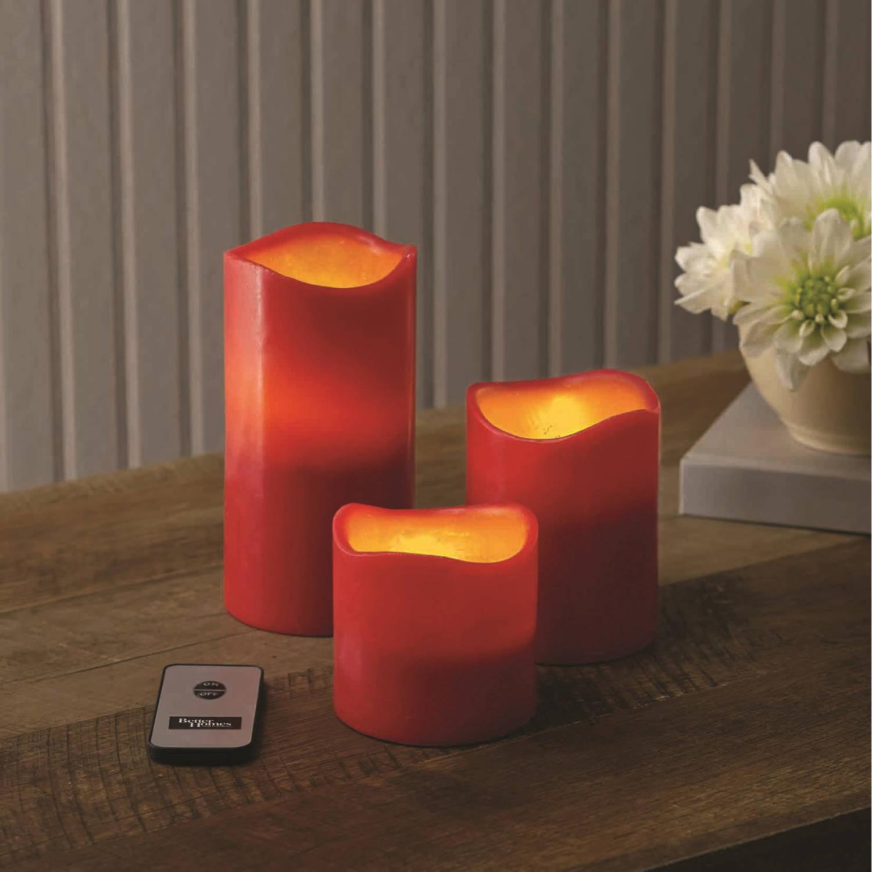 4 energizer led flameless wax candle timer flicker pillar. Black Bedroom Furniture Sets. Home Design Ideas