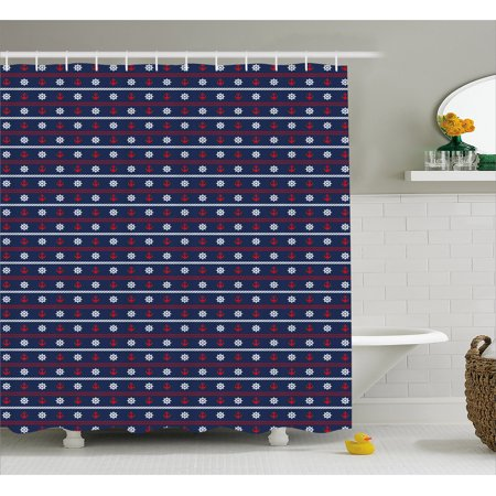 Navy Blue Shower Curtain Horizontal Borders With Nautical Elements