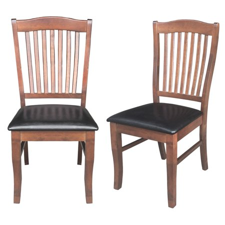 Costway Set of 2 Dining Side Chair PU Leather Upholstered Seat Slat Back Armless Kitchen