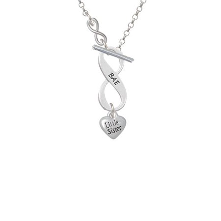 Mini 3 D Little Sister Heart   To Infinity Bae Toggle Necklace