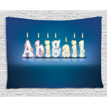 Abigail Tapestry, Alphabet Letters for Sweet Birthday Cake Topping on Blue Backdrop Image, Wall Hanging for Bedroom Living Room Dorm Decor, 60W X 40L Inches, Blue and Multicolor, by Ambesonne