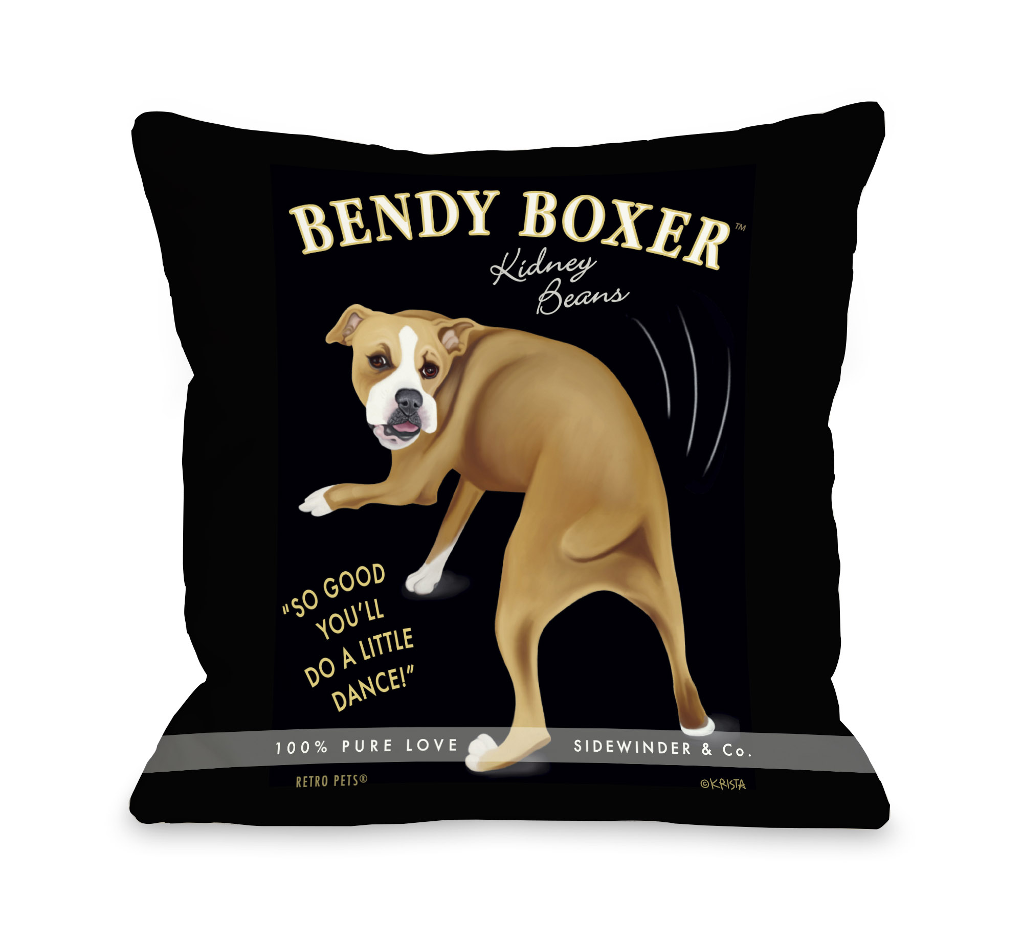 Bendy Boxer 18x18 Pillow by Retro Pets