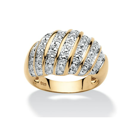 Diamond Accent Pave-Style Dome Ring in 14k Gold over Sterling (Enameled Dome Ring)