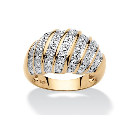 Diamond Accent Pave-Style Dome Ring in 14k Gold over Sterling Silver