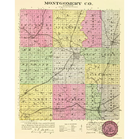 Old County Map   Montgomery Kansas   Everts 1887   23 X 29 20