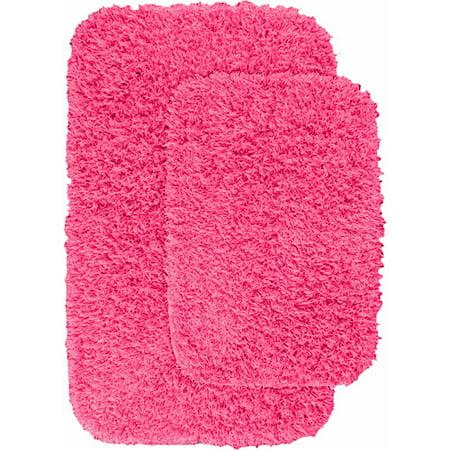 Jazz Shaggy Nylon 2-Piece Washable Bathroom Rug - Pink Bathroom Rugs