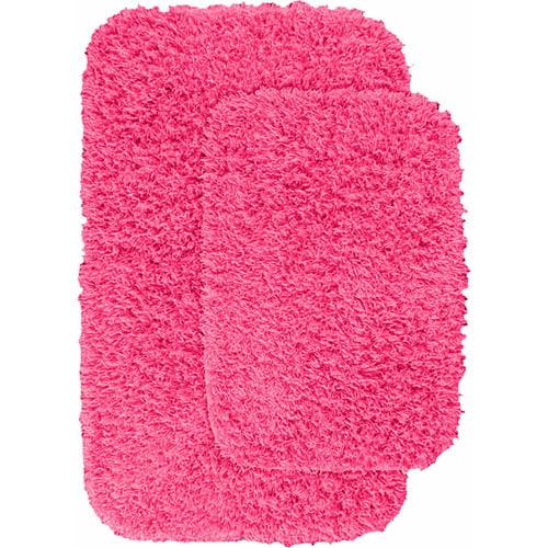 "Jazz Shaggy Nylon 2-Piece Washable Bathroom Rug Set 17""x24"" & 21""x34"""