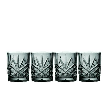 Godinger Silver Art Co Dublin Midnight DOF Glasses 10 oz Set of 4