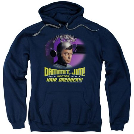 Trevco Star Trek-Not A Hair Dresser - Adult Pull-Over Hoodie - Navy, Small