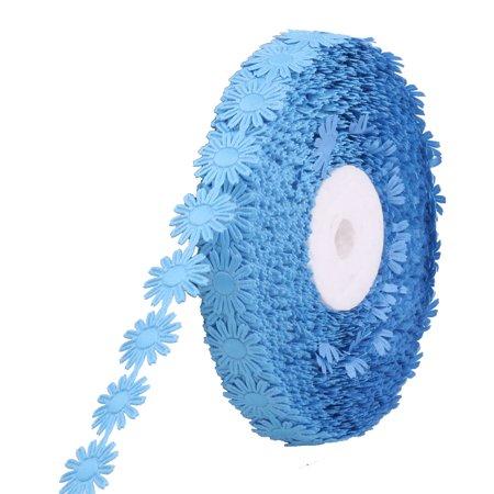 Wedding Festival Polyester Floral Design DIY Packing Ribbon Roll Blue 20 Yards ()