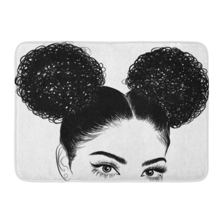 GODPOK Ethnic Brown Afro Black Woman with Curls for Graphic Tee Idea for Visit White Brazilian Eyes Rug Doormat Bath Mat 23.6x15.7 inch ()