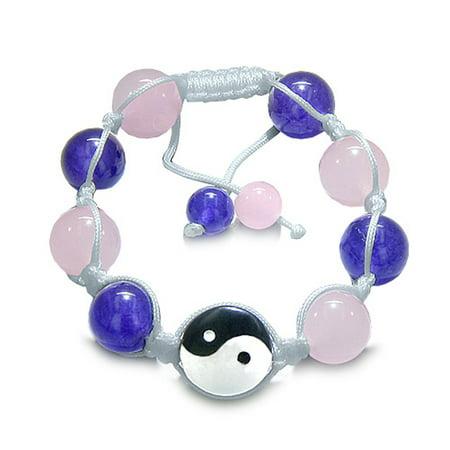 Amulet Yin Yang Black Obsidian, White, Pink and Purple Quartz Lucky Charm Bracelet ()