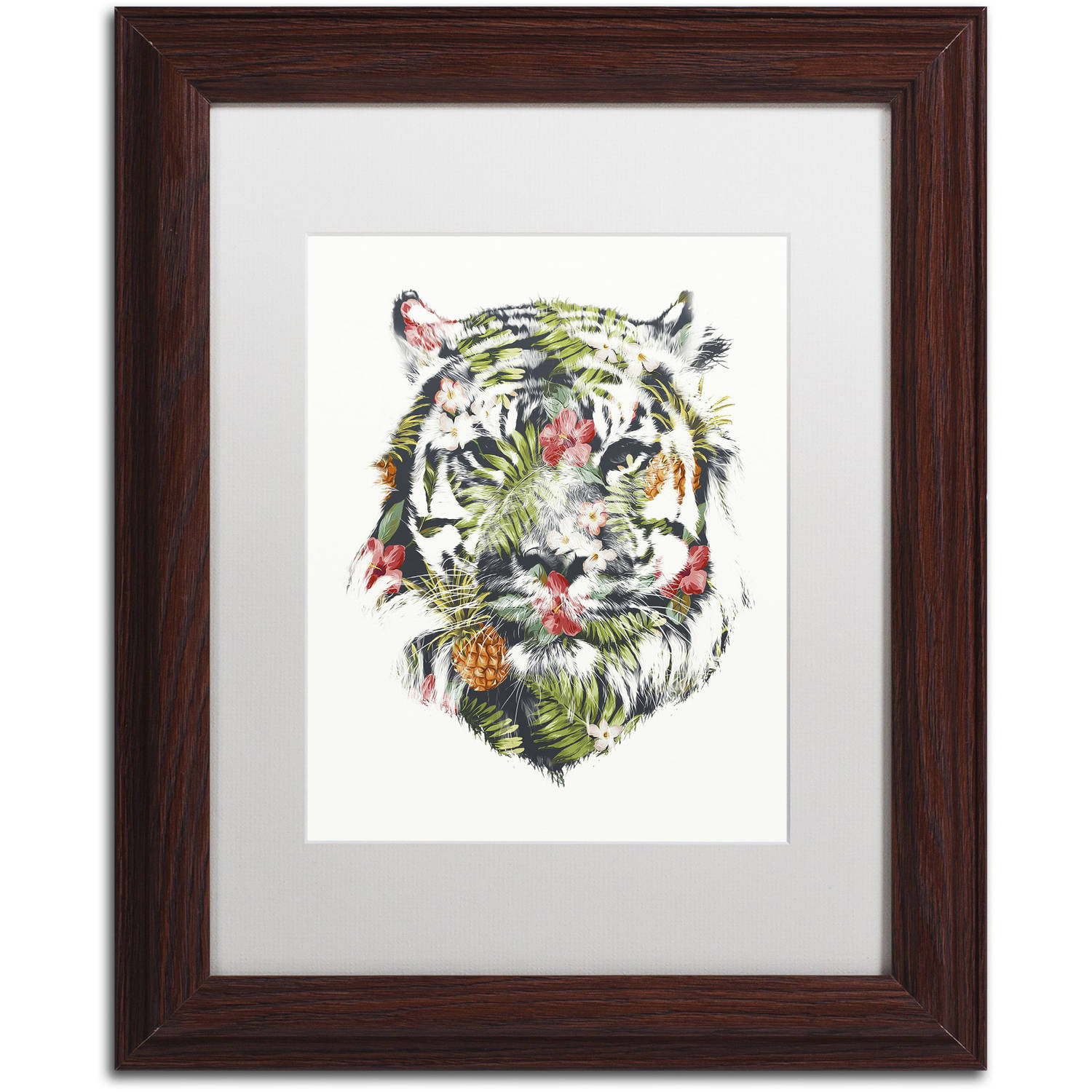 Trademark Fine Art 'Tropical Tiger' Canvas Art by Robert Farkas, White Matte, Wood Frame