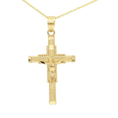 10k Yellow Gold Jesus Crucifix Pendant Necklace with 20