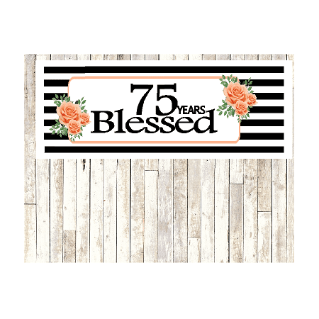 Number 75- 75th Birthday Anniversary Party Blessed Years Wall Decoration Banner 10 x 50inches (75th Birthday Party Supplies)
