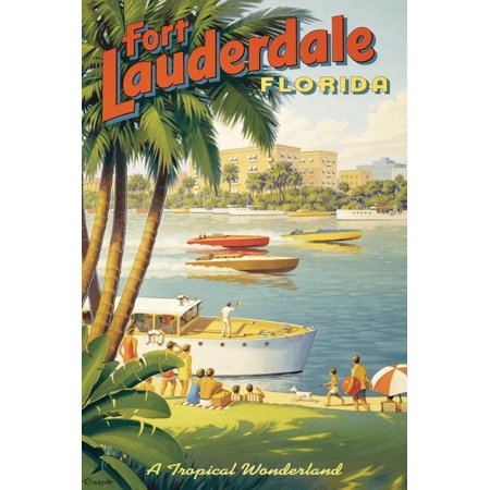 Fort Lauderdale, Florida Vintage Travel Advertisement Print Wall Art By Kerne
