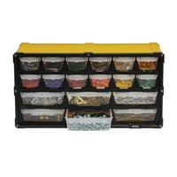 TAFCO 18-Compartment Small Parts Organizer, Yellow