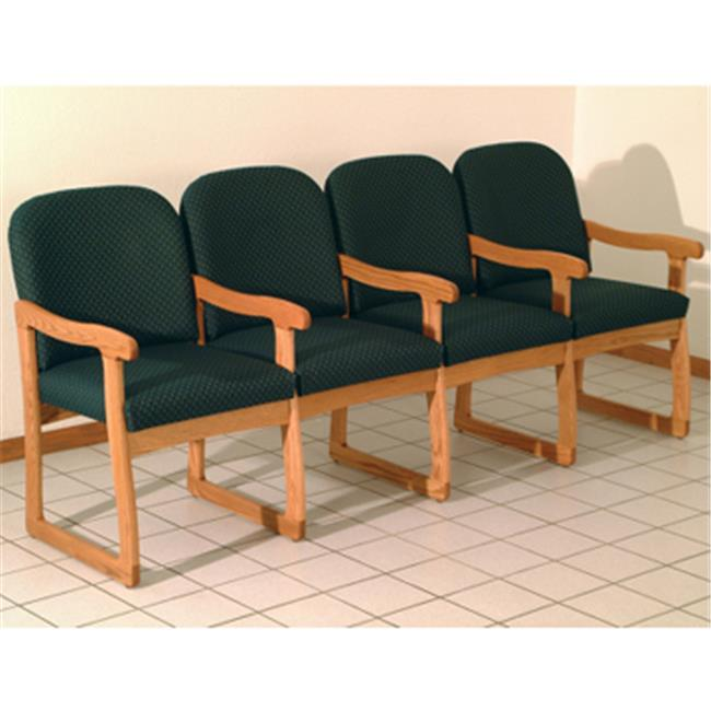 Wooden Mallet DW7-4MOAG Prairie Four Seat Chair with Center Arms in Medium Oak - Arch Green