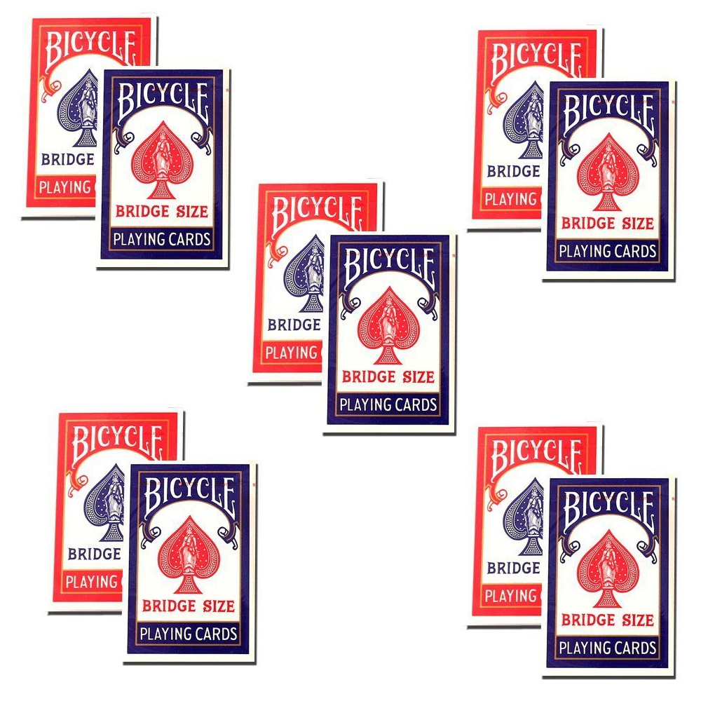 Bicycle Bridge Standard Index Playing Cards 5 Red Decks and 5 Blue Decks #1004995 by The United States Playing Card Company