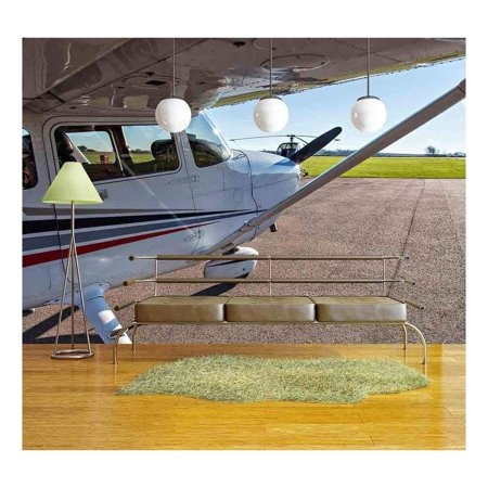 wall26 - Image of a Small Private Airplane Waiting for take Off - Removable Wall Mural | Self-Adhesive Large Wallpaper - 100x144 inches - Walmart.com