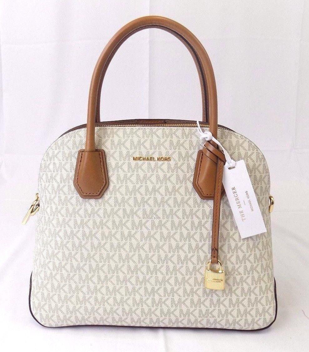 60a09936e087 ... netherlands new womens michael kors mercer large dome leather satchel  purse bag handbag 3e3c3 f67d8
